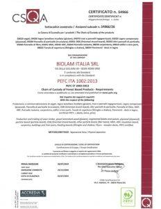 Certificato PEFC Biolam Italia Srl